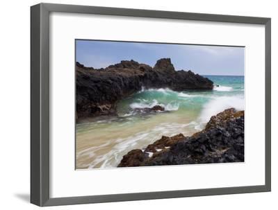 Hawaii, Maui, Makena, Ocean Wave on Rocky Coastline-Design Pics Inc-Framed Photographic Print
