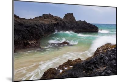 Hawaii, Maui, Makena, Ocean Wave on Rocky Coastline-Design Pics Inc-Mounted Photographic Print
