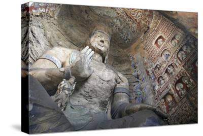Statue and Carvings in Ancient Buddhist Temple Grotto-Design Pics Inc-Stretched Canvas Print