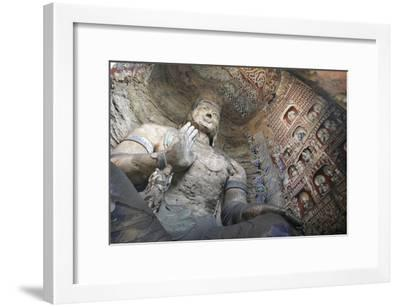 Statue and Carvings in Ancient Buddhist Temple Grotto-Design Pics Inc-Framed Photographic Print