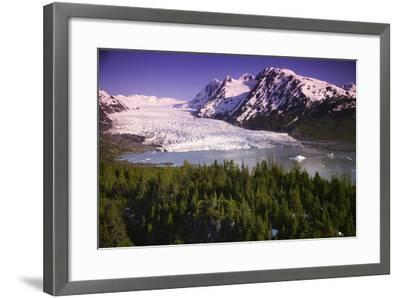 Aerial of Spencer Glacier Kenai Mountains Chugach National Forest Southcentral Alaska Summer-Design Pics Inc-Framed Photographic Print