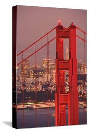 View from Golden Gate National Recreation Area Golden Gate Bridge with City of San Francisco-Design Pics Inc-Stretched Canvas Print