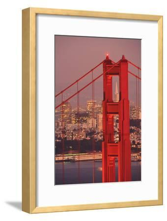 View from Golden Gate National Recreation Area Golden Gate Bridge with City of San Francisco-Design Pics Inc-Framed Photographic Print