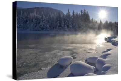 Mendenhall River Flowing Through Snow Covered Tongass National Forest Juneau Alaska Winter-Design Pics Inc-Stretched Canvas Print