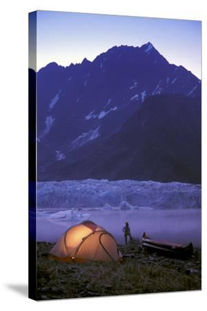 Kayaker Tent Camping at Dusk Pederson Glacier - Nkenai Fjords Np Kp Ak-Design Pics Inc-Stretched Canvas Print