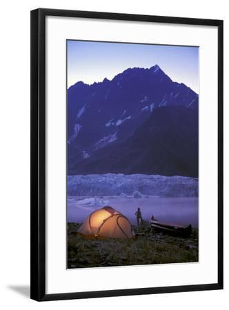 Kayaker Tent Camping at Dusk Pederson Glacier - Nkenai Fjords Np Kp Ak-Design Pics Inc-Framed Photographic Print