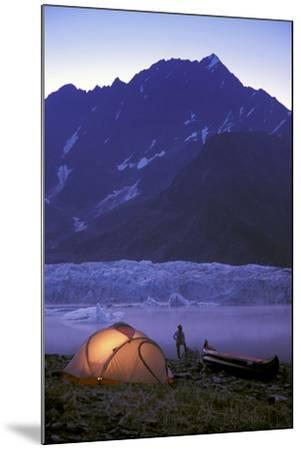 Kayaker Tent Camping at Dusk Pederson Glacier - Nkenai Fjords Np Kp Ak-Design Pics Inc-Mounted Photographic Print