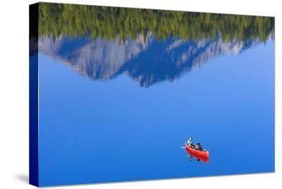 Woman Canoeing Long Lake in Matanuska Valley Chugach National Forest Alaska Summer-Design Pics Inc-Stretched Canvas Print