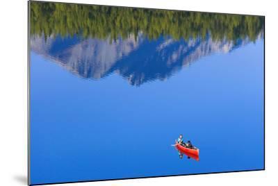 Woman Canoeing Long Lake in Matanuska Valley Chugach National Forest Alaska Summer-Design Pics Inc-Mounted Photographic Print