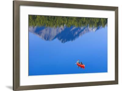 Woman Canoeing Long Lake in Matanuska Valley Chugach National Forest Alaska Summer-Design Pics Inc-Framed Photographic Print