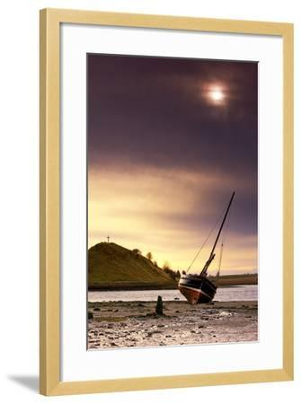 Boat on Beach at Low Tide; Alnmouth, Northumberland, England-Design Pics Inc-Framed Photographic Print