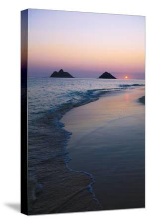 Hawaii, Oahu, Kailua, Lanikai, Sun Sinking Below Horizon on Beach-Design Pics Inc-Stretched Canvas Print