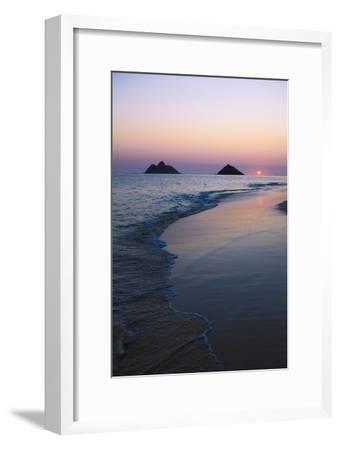 Hawaii, Oahu, Kailua, Lanikai, Sun Sinking Below Horizon on Beach-Design Pics Inc-Framed Photographic Print