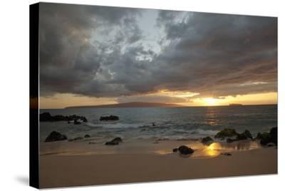 Hawaii, Maui, Makena, Cloudy Sunset at Big Beach-Design Pics Inc-Stretched Canvas Print