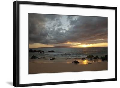 Hawaii, Maui, Makena, Cloudy Sunset at Big Beach-Design Pics Inc-Framed Photographic Print