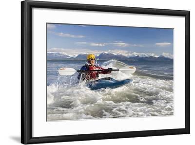 Man Kayak Surfing Waves on Katchemak Bay Near Homer Kenai Peninsula Alaska Autumn-Design Pics Inc-Framed Photographic Print