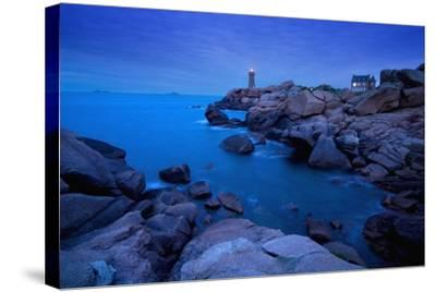 Small Lighthouse and House at Dusk-Design Pics Inc-Stretched Canvas Print