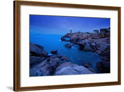 Small Lighthouse and House at Dusk-Design Pics Inc-Framed Photographic Print