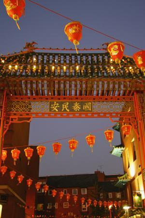 Red Lanterns and Gate on Gerrard Street in Chinatown London-Design Pics Inc-Premium Photographic Print