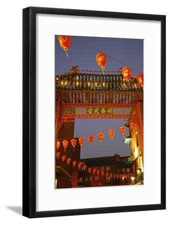 Red Lanterns and Gate on Gerrard Street in Chinatown London-Design Pics Inc-Framed Photographic Print