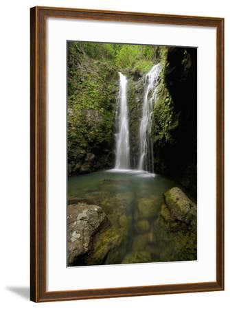 Hawaii, Maui, Makamakaole Gulch, Waihee Ridge Trail, Waterfall and Pond-Design Pics Inc-Framed Photographic Print