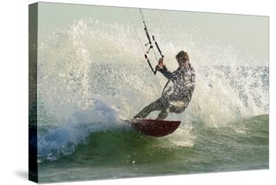 Man Kitesurfing; Costa De La Luz,Andalusia,Spain-Design Pics Inc-Stretched Canvas Print