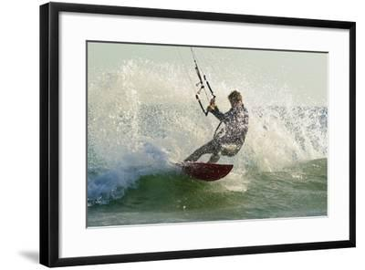 Man Kitesurfing; Costa De La Luz,Andalusia,Spain-Design Pics Inc-Framed Photographic Print