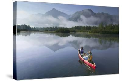 Couple Canoeing on Lake Portage Valley Sc Ak Summer-Design Pics Inc-Stretched Canvas Print