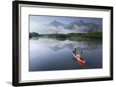 Couple Canoeing on Lake Portage Valley Sc Ak Summer-Design Pics Inc-Framed Photographic Print