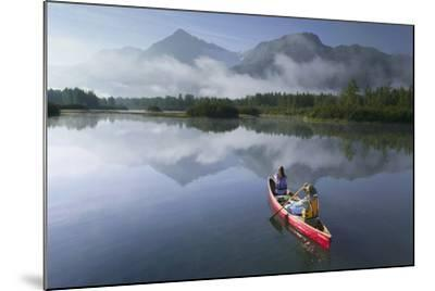 Couple Canoeing on Lake Portage Valley Sc Ak Summer-Design Pics Inc-Mounted Photographic Print