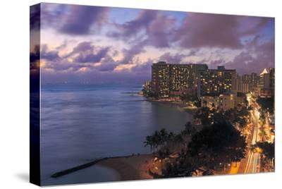 Hawaii, Oahu, Waikiki, View of Waikiki at Night-Design Pics Inc-Stretched Canvas Print