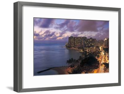 Hawaii, Oahu, Waikiki, View of Waikiki at Night-Design Pics Inc-Framed Photographic Print