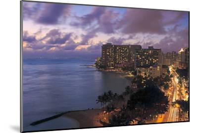 Hawaii, Oahu, Waikiki, View of Waikiki at Night-Design Pics Inc-Mounted Photographic Print