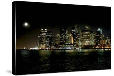The New York City Skyline Lights Up a December Night-Robbie George-Stretched Canvas Print