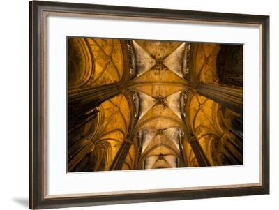 A View of the Columns and Vaulted Ceiling of the Catedral De Barcelona-Michael Melford-Framed Photographic Print
