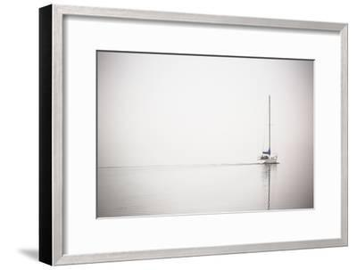 A Lone Sailboat Motors Through Morning Fog on the Occoquan River, Near the Potomac River-Kent Kobersteen-Framed Photographic Print