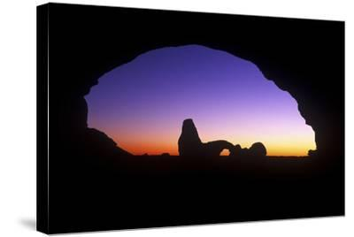 A View of North Window Arch Framing Turett Arch in Arches National Park, Utah-Keith Ladzinski-Stretched Canvas Print