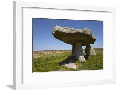Lanyon Quoit, Prehistoric Granite Remains of an Ancient Burial Mound and a Tin Mine on the Horizon-Nigel Hicks-Framed Photographic Print