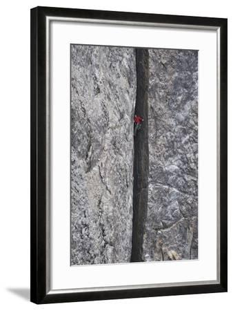 A Man Climbs in a Crevasse Between Two Massive Rock Cliffs in Yosemite National Park, California-Keith Ladzinski-Framed Photographic Print
