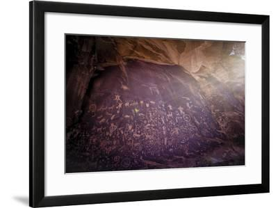 Petroglyphs on Newspaper Rock in Utah-Keith Ladzinski-Framed Photographic Print