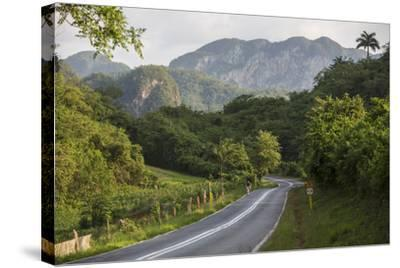 A Highway Running from Vinales to San Cayetano Through a Region known for Tobacco Farms-Michael Lewis-Stretched Canvas Print