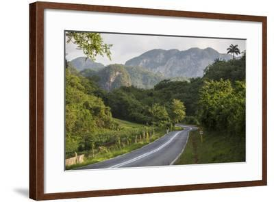 A Highway Running from Vinales to San Cayetano Through a Region known for Tobacco Farms-Michael Lewis-Framed Photographic Print
