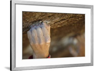Close Up of a Rock Climber's Hand Grabbing a Small Hold, Cederberg Wilderness Area-Keith Ladzinski-Framed Photographic Print
