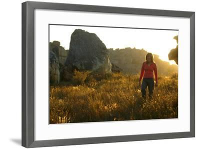A Female Climber Walking at Sunset in the Cederberg Wilderness Area, South Africa-Keith Ladzinski-Framed Photographic Print