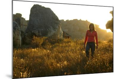 A Female Climber Walking at Sunset in the Cederberg Wilderness Area, South Africa-Keith Ladzinski-Mounted Photographic Print