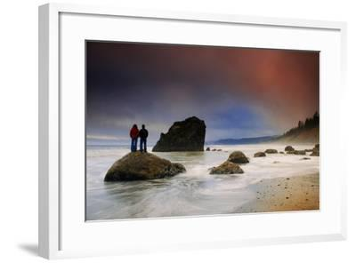 A Couple Stands on a Rock at Sunset on Ruby Beach, Olympic National Park, Washington-Keith Ladzinski-Framed Photographic Print