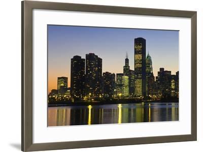Chicago Skyline at Night-Design Pics Inc-Framed Photographic Print