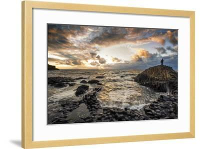 Sunset at the Giant's Causeway in Northern Ireland-Chris Hill-Framed Photographic Print