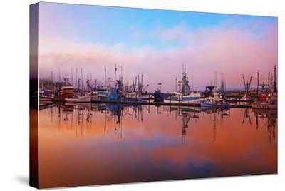 Sunrise Through the Morning Fog and Fishing Boats-Design Pics Inc-Stretched Canvas Print