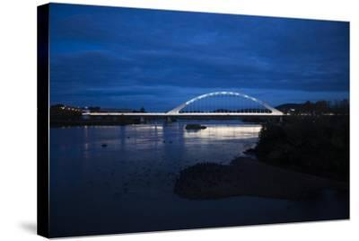 The Lusitania Bridge at Night over the Guadiana River-Macduff Everton-Stretched Canvas Print